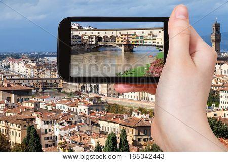 Ponte Vecchio In Florence Cityscape On Smartphone