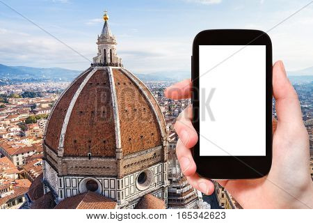 Tourist Photographs Duomo And Skyline Of Florence