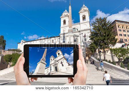 Tourist Photographs Church And Spanish Steps