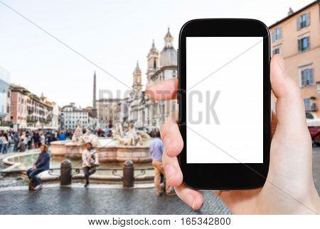 Tourist Photographs Square Navona In Rome