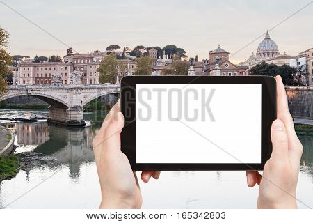 Tourist Photographs Tiber River In Rome City