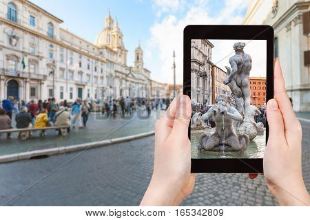 Tourist Photographs Fountain On Piazza Navona