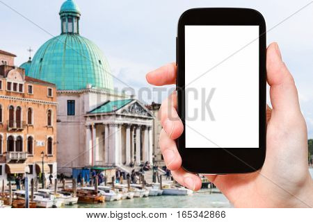 Tourist Photographs Church In Venice City