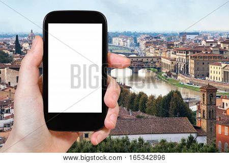Tourist Photographs Florence City With Arno River