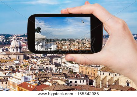 Tourist Photographs Rome City Skyline