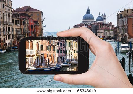 Tourist Photographs Palaces In Venice City