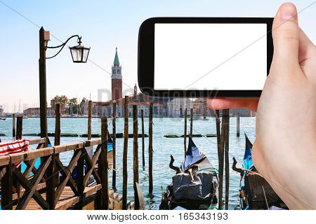 Tourist Photographs Gondolas In Venice City