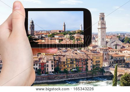 Tourist Photographs Verona City Skyline