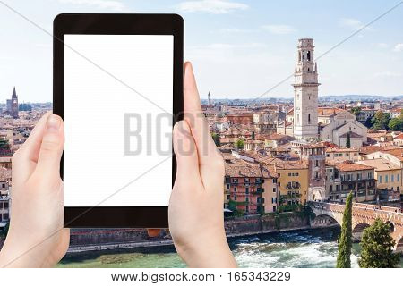 Tourist Photographs Verona City On Tablet