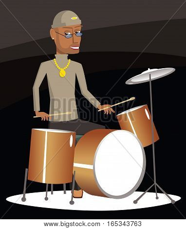 An illustration of a drummer playing on stage.
