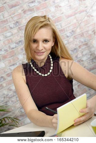 portrait of beautiful blonde business woman with a brown sweater