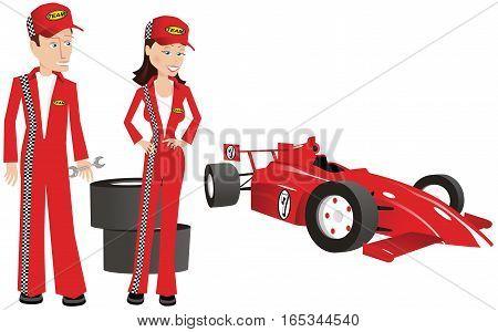 A couple of mechanics fixing a racing car.