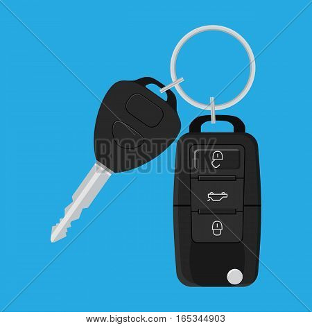 Car Key and of the alarm system. Vector illustration in flat style