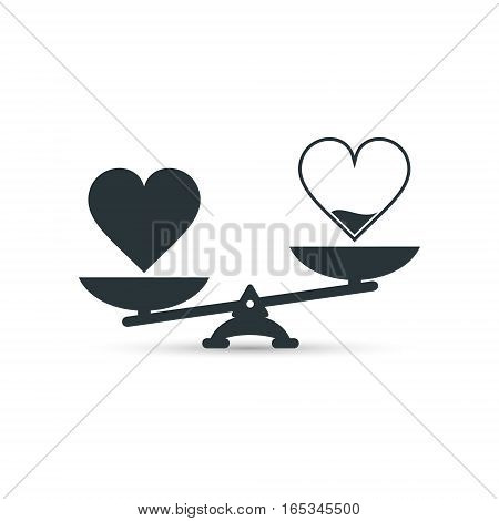 Full and empty heart on scales measurement love vector.
