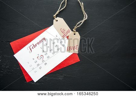 Valentine's Day gift labels and calendar  February page on the chalkboard background