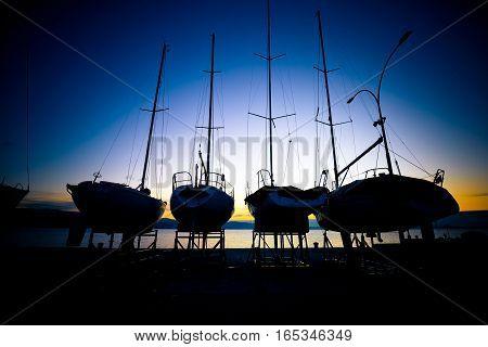 Sailboats At Dry Dock Sunrise View