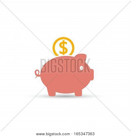 Piggy bank saving money icon. Vector isolated illustration.