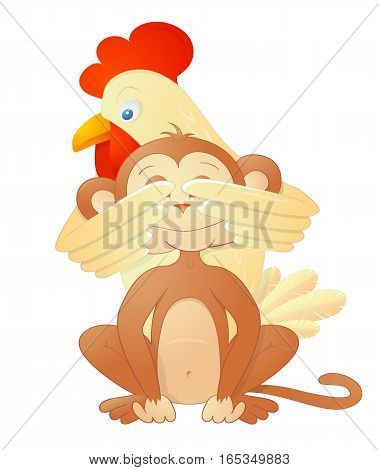 Rooster as symbol for 2017 and Monkey chimp as symbol for 2016 by Chinese zodiac. Year shift concept illustration. Good for greeting cards and calendars