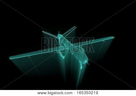 3D Drone Hologram Wireframe in Motion. Nice 3D Rendering