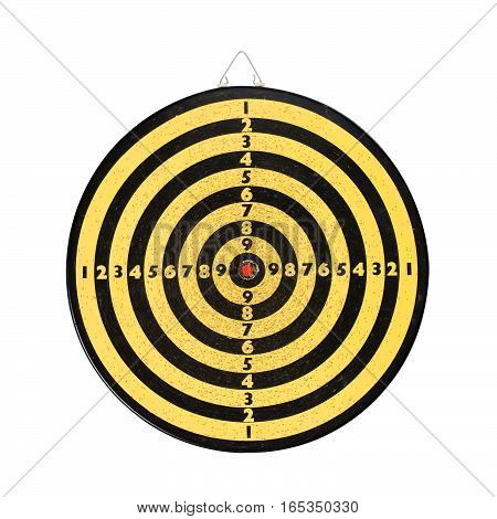 Dart board isolated on white background. Vintage yellow black shooting target red center. Aim with numbers. textured, macro view
