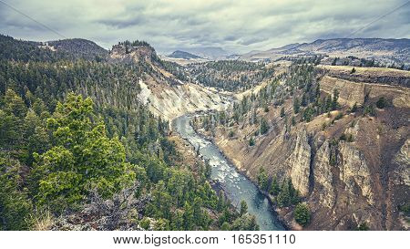 Color Toned Canyon In Yellowstone National Park, Usa.