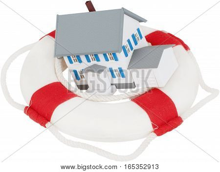 Life ring with a home in it - insurance concept