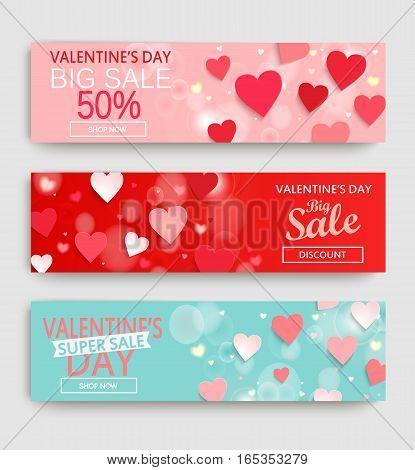 Sale header or banner set with discount offer for Happy Valentine's Day celebration. Vector illustration.