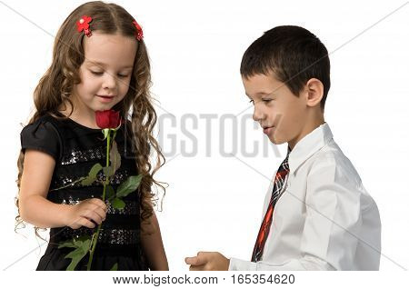 little boy gives a red rose to girlfriend. relationship between young children.