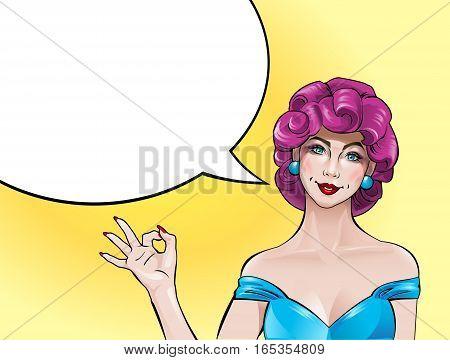 illustration pop art girl showing OK sign