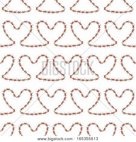 Romantic seamless pattern. Endless ornament with red hearts on white backdrop. Valentines day or wedding background for fabric, wrapping, packaging paper