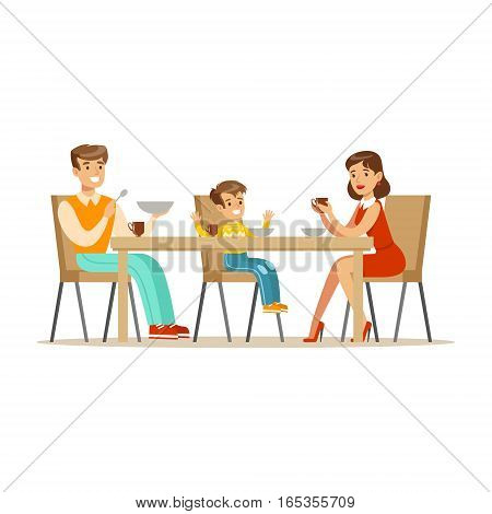 Mom, Dad And Son Having Breakfast , Happy Family Having Good Time Together Illustration. Household Members Enjoying Spending Time Together Vector Cartoon Drawing.
