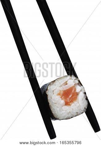 Black Wooden Chopsticks with Hosomaki Sushi - Isolated