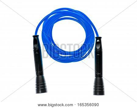 Blue jump rope or skipping rope isolated on white background. Sports fitness cardio martial art and boxing accessories.