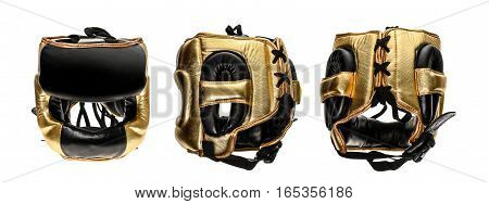 Protective Boxing Leather Helmet Head Gear Isolated On White.