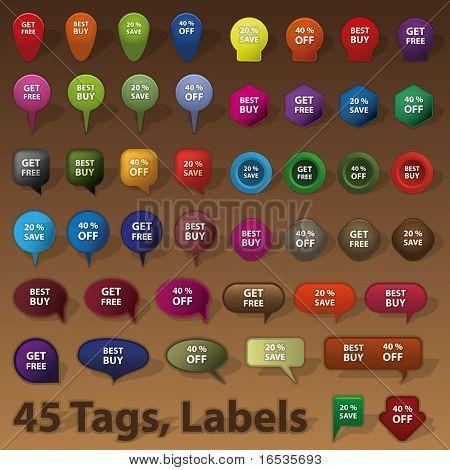 45 verkaufen, Abzeichen, Tags, Etiketten