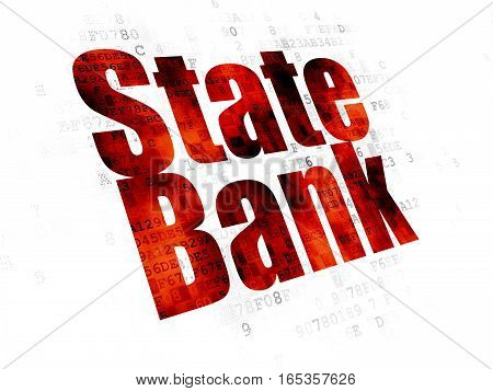 Banking concept: Pixelated red text State Bank on Digital background