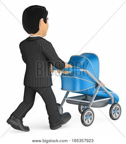 3d business people illustration. Businessman pushing a baby stroller. Isolated white background.