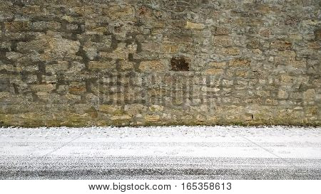 Wall Background With Frosty And Snowy Street In Front