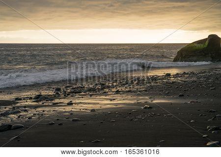 Sunset over the seashore on Madeira island