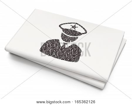 Protection concept: Pixelated black Police icon on Blank Newspaper background, 3D rendering