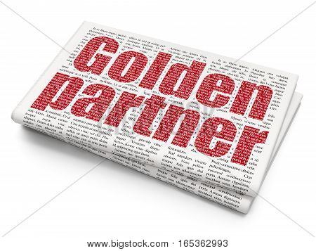 Business concept: Pixelated red text Golden Partner on Newspaper background, 3D rendering