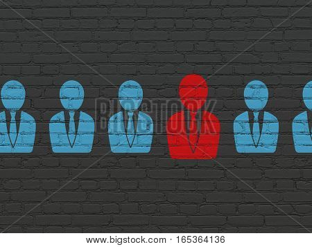 Business concept: row of Painted blue business man icons around red business man icon on Black Brick wall background