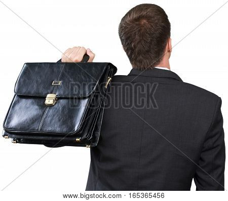 Businessman Standing with his Back with Briefcase - Isolated