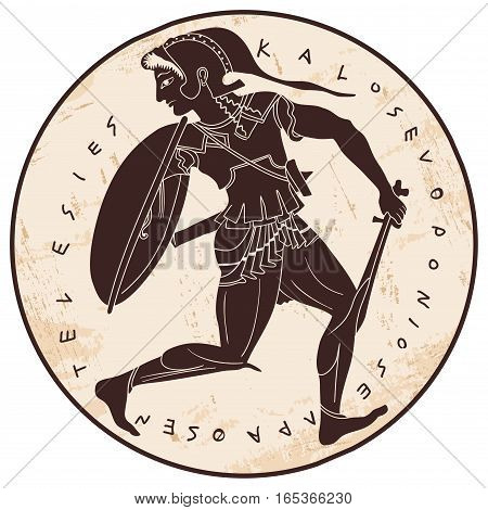 Amazon. Ancient Greek warrior woman. Brown pattern on the beige background with the aging effect.