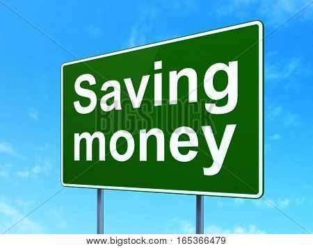 Business concept: Saving Money on green road highway sign, clear blue sky background, 3D rendering