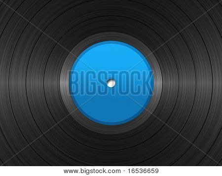 Illustration of vinyl long-play record with blue label.