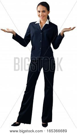 Friendly Businesswoman Standing and Holding Invisible Object - Isolated