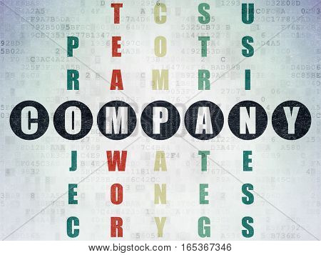 Business concept: Painted black word Company in solving Crossword Puzzle on Digital Data Paper background