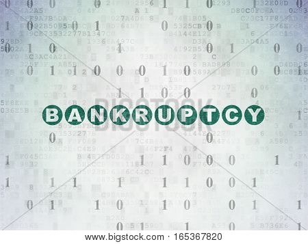 Finance concept: Painted green text Bankruptcy on Digital Data Paper background with Binary Code