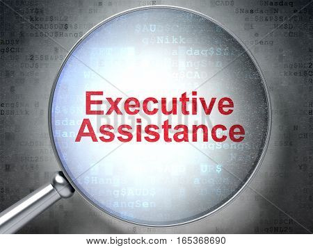 Finance concept: magnifying optical glass with words Executive Assistance on digital background, 3D rendering